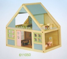 wooden two floor colorful doll house with furnitures and dolls