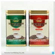 Square high sealed coffee and tea tin box