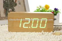 Digital desk wooden alarm clock calendar with temperature