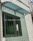 YP100120 PC canopy, window and door awning, grey plastic brackets with blue PC sheet canopy