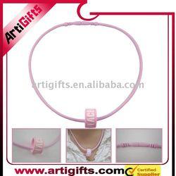 Pink color raised logo silicon necklace