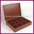 antiguos de madera caja de té con la esquina de metal revestido