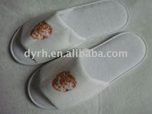 Soft&comfortable embroidery cotton velvet&ployester velour open toe hotel slippers