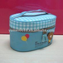 light blue printed make up brush bag