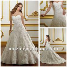 Strapless bordado trem da varredura Net tecido flores para vestidos de casamento XZ110131