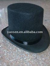 black felt top hat with black ribbon