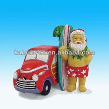 Hawaiian Surfboard Santa & Woodie Christmas Ornament