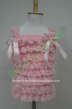 Wholesale baby lace top pink shirts gifts for baby Beautiful children tops