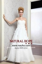 Chic white handmade floral A line wedding dress strapless and spaghetti straps 2 in 1 beach wedding dresses 2014