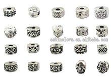 Tibetan Silver Plate Stopper Beads Clip/Locks Fit European Bracelets tdmix4,Sold per packet of 100Pcs