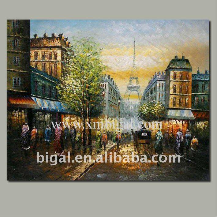 París streetscape cuchillo pintura