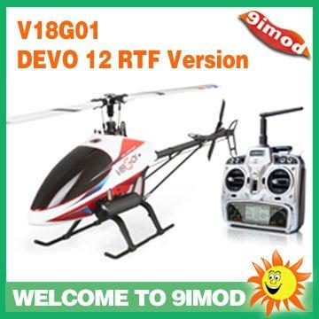 walkera v18g01 flybarless nitro rtf helicóptero rc con devo 12 transmisor