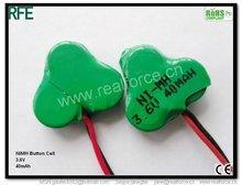 1.2V/2.4V/3.6V 40mAh NiMH Rechargable Button Battery for Flashlight/Torch
