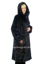 2013 LADIES DENMARK MINK FUR COAT WITH HOOD IN BLACK COLOR