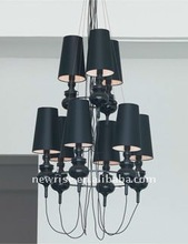 Famous designer chandelier light in black color, with 9 lamps