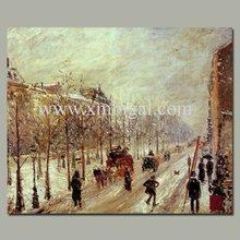 impressionist streetscape oil painting design