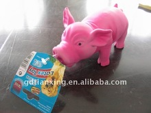 squeaky natural rubber pig toy for dog