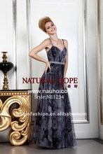 Crazy Hot 2012 new listed amazing and gracious South Korea printed chiffon & tulle evening dress NE1234