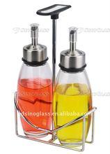 SINOGLASS 2 pcs Edging range galss oil&vinegar bottle set with rack