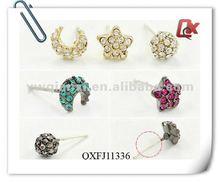 Fashion 3pairs alloy rhinestone stud earring set , moon , ball and star (QXFJ11336)