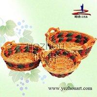 fashion handmade plastic lined wicker basket
