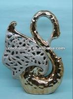 decor swan figurine ceramic craft folk pottery Animal swan porcelain handicraft