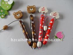 cartoon bear design wooden ballpen