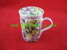 YF18335 350ml porcelain mug with lid