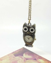 fashion promotional gift item owl watch necklace classic pocket watch