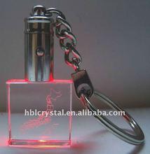 red led 3d crystal keyring
