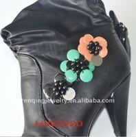 2012 lady boot acyrlic cushion fabric flower