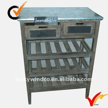 rustic fir wood wine table w/zinc top