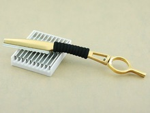 Golden Salon Hair Shaping Styling Swivel Feather Razor with Blade + 10 Blades