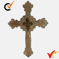 Handmade brown wooden cross decor