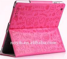 Debossed leather case for ipad2/new iPad
