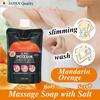 """Aloesio"" mandarin orange body soap with salt scrub, washable while massaging"