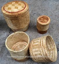 Thailand Handmade glutinous / sticky rice basket container (Kratip), Grade A, Natural bamboo