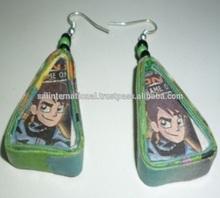 Green colour cartoons design Earings