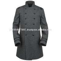 Men Grey Colonel Military Wool Coat