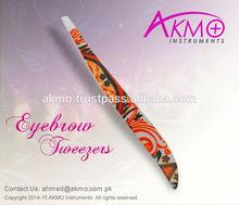 Extreme Quality Slanted Tips Cosmetic Tweezers with Paper Coating/ Stainless Steel Tweezers/ New Eyebrow Tweezers