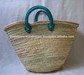 hecho a mano hermoso de mimbre de compras cestas de paja turqouise con asas de cuero