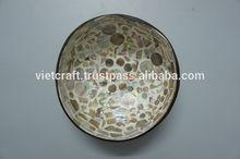 Di alta qualità di cocco lacca ciotola con conchiglia abalone e conchiglia intarsiato; eco- firendly; souvenir, regalo