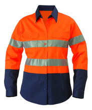 Factory Direct Sale Cotton Work Shirt In Two Tone With Double Pockets For Mens