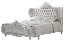 luxury bed white and silver , wooden bed,