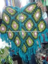 Buityfull winter flowers design print ladies tops ladies winter ponchos full Flowers woolen