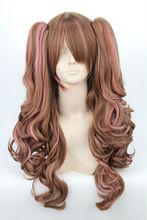 Lolita Long Curly Pink Dark Brown Wig