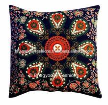 Hippie Mandala Indian Tapestry, blue Cotton Mandala Cushion cover In Tradional Jaipur color, Bohemian Block Printed Cushion Cove