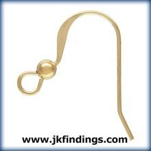 1/20 14K Gold Filled Jewelry Findings Ear Wire Flat w/3.0mm Bead