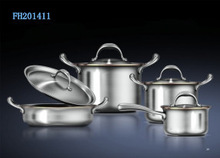 cookware set with stainless steel lid / cover