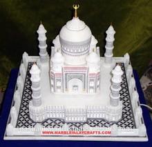 Marble White Taj Mahal Model, Decorative Handmade Taj Mahal Symbol Of Love